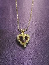 Sterling Silver Gold Wash Crystal Heart Pendant & Chain Made in Italy