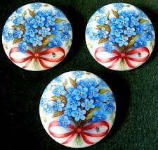 3 Czech WHITE Glass Buttons #B215 - XXLarge FORGET-ME-NOT!!!!!