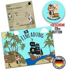 Piraten Einladungen Einladungskarten Schatzkart Party x12 Geburtstag  + Geschenk