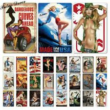 Pin Up Sexy Girl Tin Sign Metal Plaque Vintage Wall Decor Bar Pub Club Man Cave
