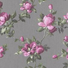 EMILIA ROSE FLORAL WALLPAPER SILVER / PINK - RASCH 502169 FLOWERS
