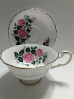 ROSLYN FINE BONE CHINA WIDE MOUTH SHAPE CUP & SAUCER PINK & MAUVE R17