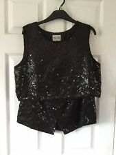 Sparkly Ladies Black Sequin Wallis Skirt And Top Set Sizes 12/14 Excellent Cond