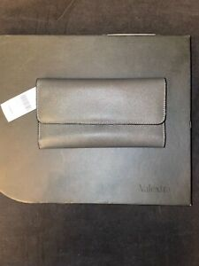 Valextra $1020 Continental Leather Wallet Gray Color, New
