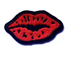 Red Lips Patch Love Peace Mouth Embroidered Iron Sew On Applique Badge Motif