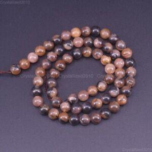"Natural Rare Chiastolite Gemstone Round Loose Beads 4mm 6mm 8mm 10mm 12mm 15.5"""