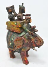 Vintage Wooden Elephant With Riders Figurine Original Old Hand Carved Painted
