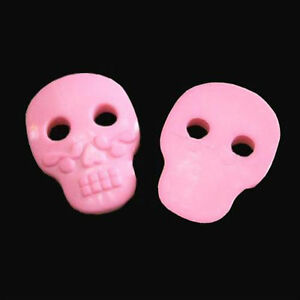 15 Large Skull Plastic Decor Halloween Sewing Clothes Sewing Buttons Pink K235