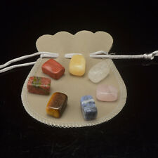 7 Tumbled Stones Chakra Set With Pouch Chakra Balance Reiki Healing Stone Set
