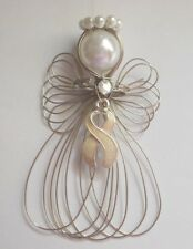 Lung Cancer Awareness Pearl Ribbon Angel Ornament NEW Handmade