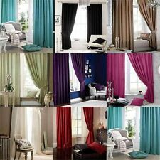 Catherine Lansfield Home Faux Silk Eyelet or Pencil Pleat  Curtains