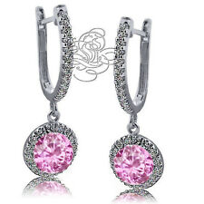 2.89CT 925 Silver Halo Drop Pink Sapphire Leverback Earrings 14K W Gold Plated