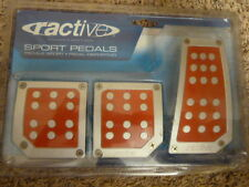 Ractive Brushed Aluminum Sport Pedals Red Silver Dots Universal Manual / Stick