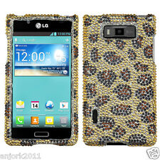LG SPLENDOR VENICE US730 SNAP ON DIAMANTE CASE COVER LEOPARD YELLOW