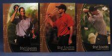 TIGER WOODS 2001 UPPER DECK STAT LEADERS THREE CARD LOT SL2, SL11, SL17