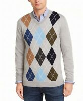 Club Room Mens Sweater Gray Size 2XL V-Neck Wool Pullover Argyle $85 #245