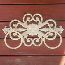 Vintage Shabby Chic Dual Towel Ring Ornate Heavy Cast Iron Towel Rings White