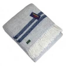 2 Stripe Grey & Navy Blue Fringed Lifestyle Herringbone Wool Throw