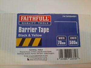 Faithfull Barrier Tape 70mm x 500m Black & Yellow
