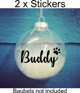 2x personalised name vinyl sticker christmas bauble gift present pet dog cat