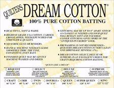 Quilters Dream Batting Natural Cotton Supreme~Heaviest Loft~Craft Size