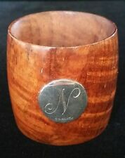 antique / vintage Oak Wood napkin ring with Australian sterling silver plaque