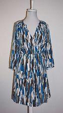 Banana Republic Blue Brown Print Blouson  Dress Size 6P
