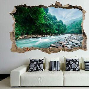 Rainforest River Stream Wall Art Sticker Mural Poster Home Office Decor FH20