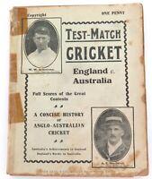 "c1909 PENNY PAPERBACK ""TEST MATCH CRICKET. ENGLAND v AUSTRALIA"" by JOHN LENG."