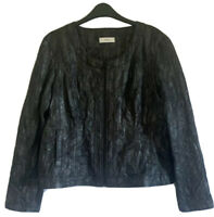 JORLI Designer Women's UK 14 Biker Jacket Blouson Y2K 90s Disco Black Glam Rock