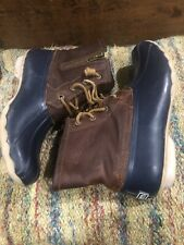 Sperry Waterproof Brown Leather Navy Blue Rubber Duck Ankle Boots Women's 9