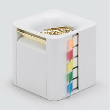 All-In-One Sticky Note Dispenser Index Flag Organizer Paper Clip Tub Light Grey