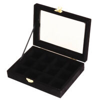 12 Slots Glass Lid Ring Brooch Earring Jewelry Holder Storage Box Case Organizer