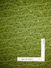 Christmas Tree Wavy Landscape Green Cotton Fabric Andover Mistletoe By The Yard