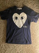 Comme des Garcons CDG PLAY - Big White Heart Outline Navy T-Shirt - Men's L
