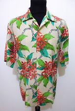 AUTH HAWAII VINTAGE 40s WWII Camicia Uomo Seta Man Hawaian Silk Shirt Sz.XL