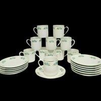 Lot of 11 Porcelain Demitasse Cups & 12 Saucers Coffee Espresso Floral Gold Trim