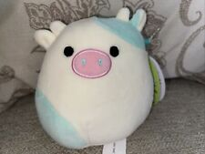 """New With tags Squishmallows Easter Series Belana the mint green & cream cow 5"""""""