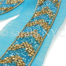 Turquoise Gold Beaded Fabric Trim trimming,Embellishment,co stume,pageant,Art