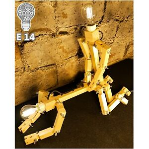 retro industrial lamp robot steampunk vintage, wooden floor table desk, mancave