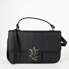 $1695 Alexander McQueen Black Calf Leather Flap Crossbody Bag 460561 1000