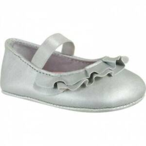 Baby Deer Silver Leather Like Ruffle Skimmer Shoes  Size 1