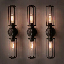 Industrial Retro 2-Light Double Head Mini Long Cage Shade Metal Wall Sconce Lamp