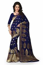Bollywood Blue Banarasi Silk Saree With Unstitched Blouse Piece -2555