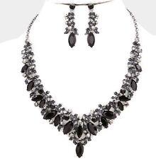 Black Jet Silver Crystal Pageant Wedding Rhinestone Necklace Jewelry Set Earring