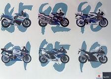 LOT DE 6 AUTOCOLLANTS GSXR SUZUKI STICKERS MOTO STICKER 1985 A 2010