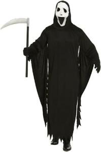 Mens Ghost Death Reaper Scream Fancy Dress Costume with Mask Halloween Horror