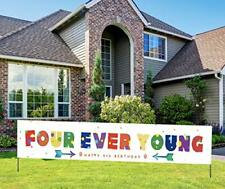 Large Happy 4th Birthday Banner 4th Birthday Yard Sign for Kids Colorful Birt...