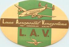 Linea Aeropostal Venezolana / Lav ~VENEZUELA~ Scarce Airline Luggage Label