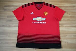 SIZE XXL MANCHESTER UNITED 2018/2019 HOME FOOTBALL JERSEY SHIRT ADIDAS RED